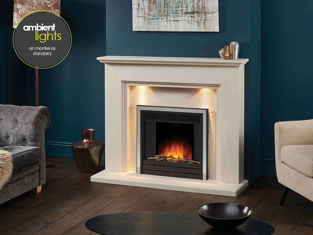 Limestone Fireplace with Electric Inset Fire Package