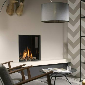 Gas fireplaces sat behind screen